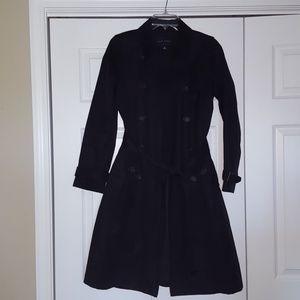 Banana Republic black trench coat, size small
